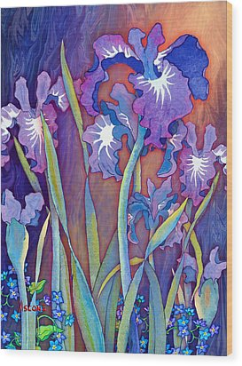 Wood Print featuring the mixed media Iris Bouquet by Teresa Ascone