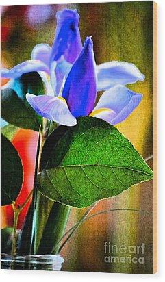 Iris Carried Away Wood Print by Gwyn Newcombe