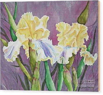 Iris Cream Duo Wood Print by Kathryn Duncan
