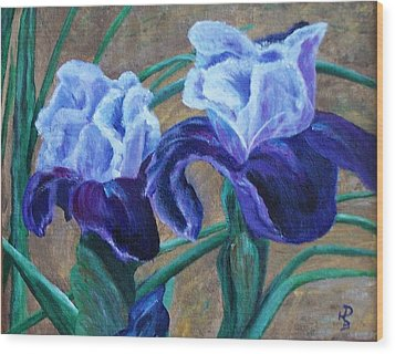 Iris Wood Print by Debbie Baker