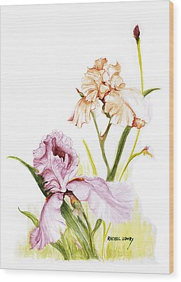 Wood Print featuring the painting Iris Duo by Rachel Lowry