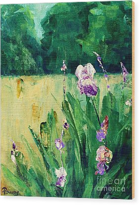 Wood Print featuring the painting Iris Field by Mary Lynne Powers