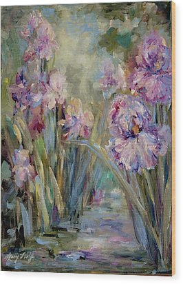 Iris Garden Wood Print by Mary Wolf