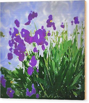 Iris Wood Print by GuoJun Pan