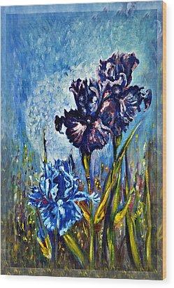 Iris Wood Print by Harsh Malik