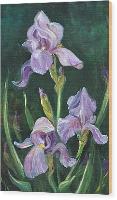 Iris Wood Print by Jolyn Kuhn