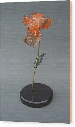 Iris Wood Print by Leslie Dycke