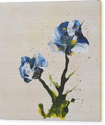 Iris Wood Print by Mary Kay Holladay