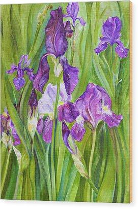 Iris Wood Print by Nadine Dennis