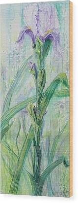 Wood Print featuring the painting Iris Number Two by Cathy Long