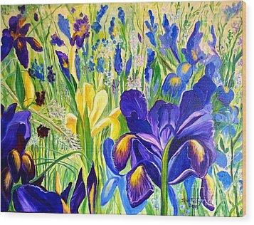 Iris Spring Wood Print by Julie Brugh Riffey