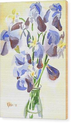 Irises Aglow Wood Print by Kip DeVore