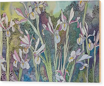 Irises And Doodles Wood Print by Terry Holliday