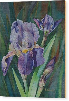 Irises Wood Print by Barbara Carswell