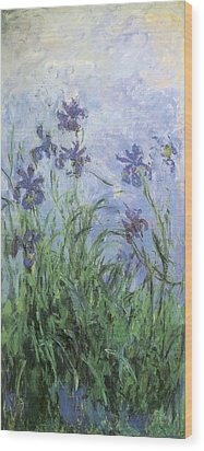 Irises Wood Print by Claude Monet