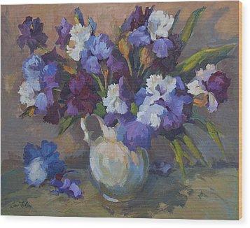 Irises Wood Print by Diane McClary