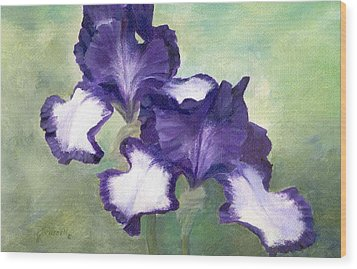 Irises Duet In Purple Flowers Colorful Original Painting Garden Iris Flowers Floral K. Joann Russell Wood Print