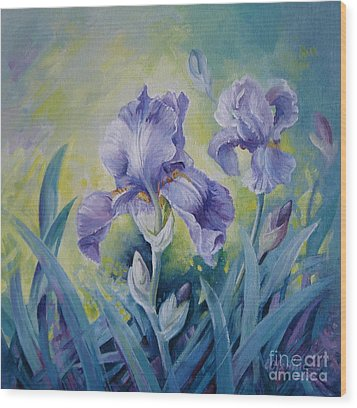 Irises Wood Print by Elena Oleniuc