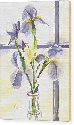 Irises In The Window II Wood Print by Kip DeVore