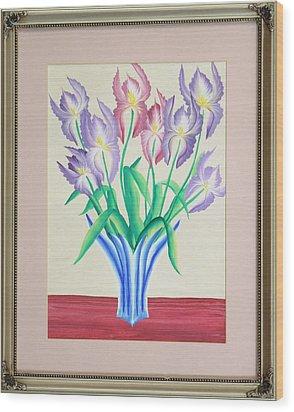 Irises Wood Print by Ron Davidson