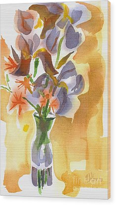 Irises With Stars Of Bethlehem Wood Print by Kip DeVore