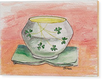 Wood Print featuring the painting Irish Belleek And Linen by Julie Maas