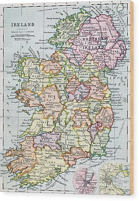 Irish Free State And Northern Ireland From Bacon S Excelsior Atlas Of The World Wood Print by English School