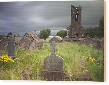 Irish Graveyard Cemetary Dark Clouds Wood Print by Dirk Ercken