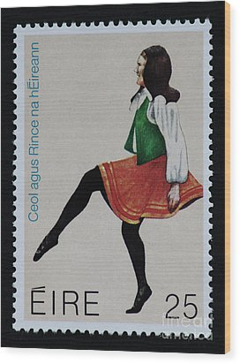 Irish Music And Dance Postage Stamp Print Wood Print