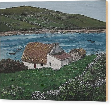 Irish Thatch Cottage Connemara Ireland Wood Print