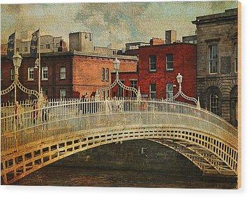 Irish Venice. Streets Of Dublin. Painting Collection Wood Print by Jenny Rainbow