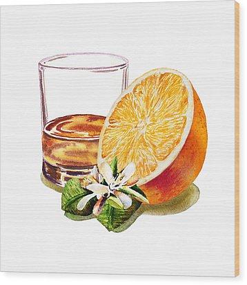 Irish Whiskey And Orange Wood Print by Irina Sztukowski