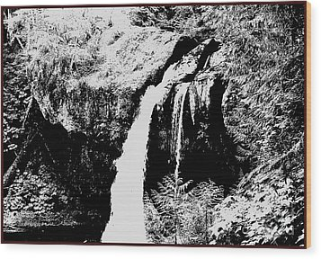 Iron Creek Falls Bw Wood Print by Rich Collins