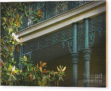 Iron Detail With Magnolia Tree Wood Print