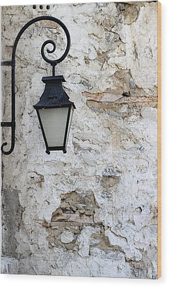 Iron Lantern On A Old Brick Wall Wood Print by Kamen Zagorov
