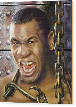 Iron Mike Tyson-no Blood No Glory 1a Wood Print by Reggie Duffie