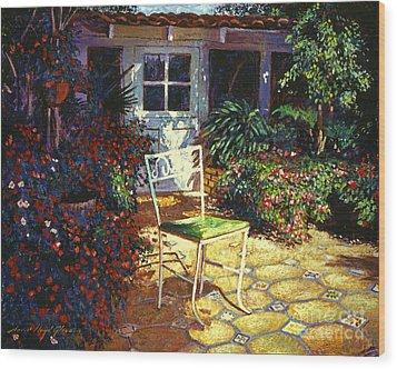 Iron Patio Chair Wood Print by David Lloyd Glover