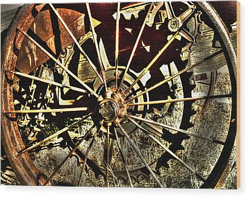 Iron Spokes Wood Print
