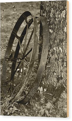 Wood Print featuring the photograph Iron Wheel by Linda Segerson