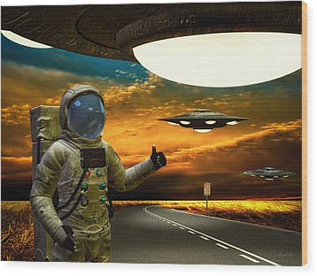 Ironic Number Four - Hitchhiker Wood Print by Bob Orsillo