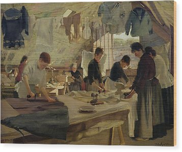 Ironing Workshop In Trouville Wood Print by Louis Joseph Anthonissen