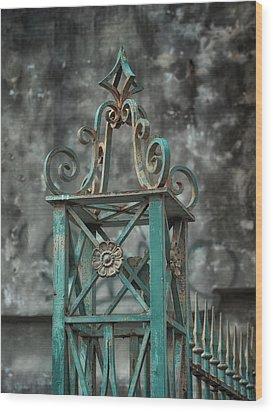 Ironwork In The Quarter Wood Print by Brenda Bryant