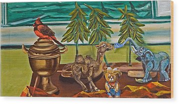 Wood Print featuring the painting Is It Time For A Shower by Susan Culver