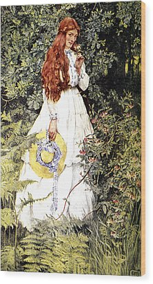 Is She Not Pure Gold My Mistress Wood Print by Eleanor Fortescue Brickdale