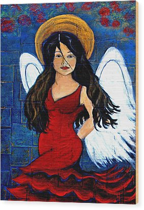 Isabella  A Spanish Earth Angel From Cultures Around The World Wood Print by The Art With A Heart By Charlotte Phillips