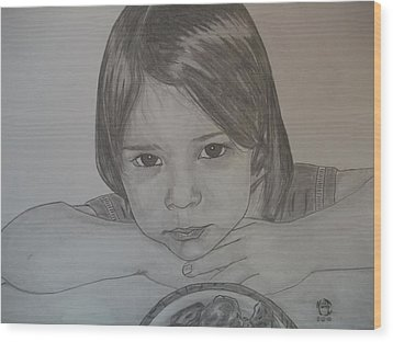 Wood Print featuring the drawing Isabella by Justin Moore