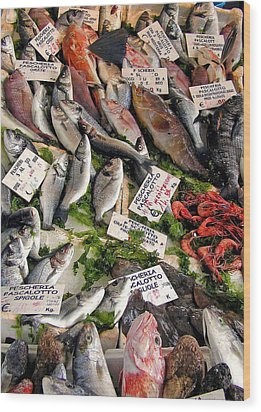 Ischia Fish Market Wood Print