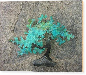 Ishitsuki Copper Bonsai Wood Print by Vanessa Williams