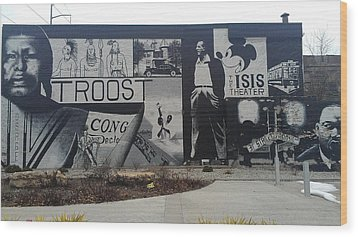 Isis Theater 3102 Troost Ave Kansas City Mo Side Of The Building Tribute Wood Print by Sonya Wilson