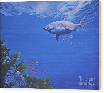 Pacific Great White Wood Print by Noe Peralez